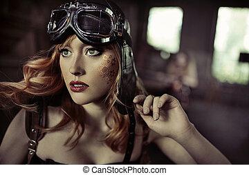 retrato, de, el, fabuloso, airwoman,