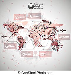 World map vector, infographic design illustration for...