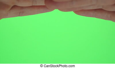 Hands Shading Eyes Greenscreen - Hands up on a greenscreen...