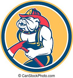 Bulldog Fireman With Axe Circle Retro - Illustration of a...
