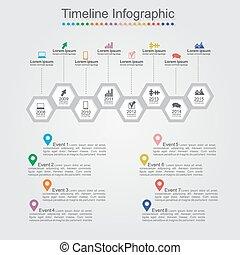 timeline, infographics, com, célula, elementos,...