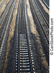 Railway 1 - Railway freight train of many cars track...