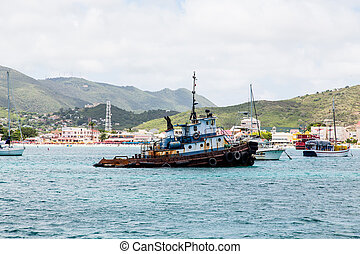 Old Rusty Tugboat off St Martin