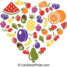 fruit icons in heart