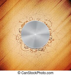 Metal power button with other doodle design elements, wooden background vector illustration