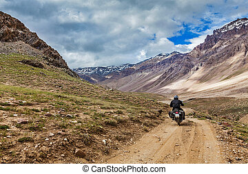 Bike on mountain road in Himalayas. Spiti Valley, Himachal...