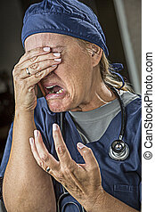 Agonizing Crying Female Doctor or Nurse - Hysterical...