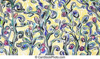 Growing flowers - Flowering forest impressionist style,...