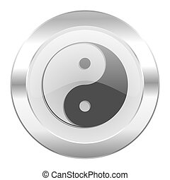 ying yang chrome web icon isolated
