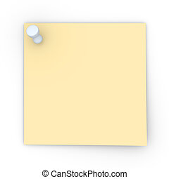 Pinned Note - 3D rendered Illustration. Blank pinned note....