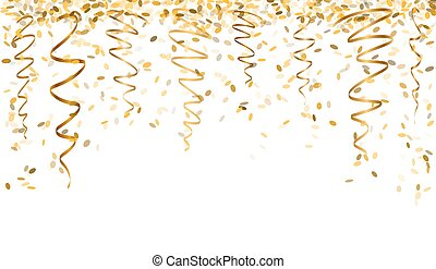 falling gold confetti - falling oval confetti and ribbons...