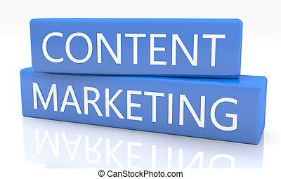 Content Marketing - 3d render blue box with text Content...