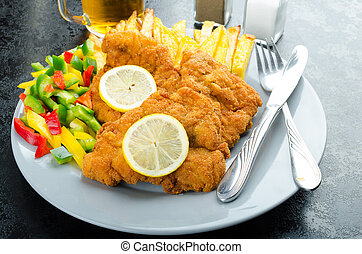 Schnitzel with french fries, homemade, platter, czech beer,...