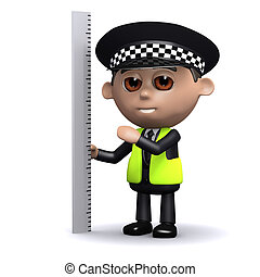 3d Police officer measures the situation - 3d render of a...