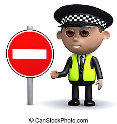 3d Police officer with a no entry sign - 3d render of a...