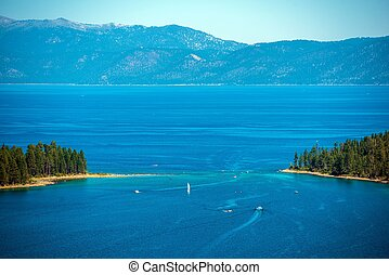 Lake Tahoe Panorama - Lake Tahoe Summer Panorama and Sierra...