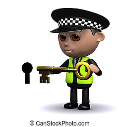 3d Police officer puts the key into the keyhole - 3d render...