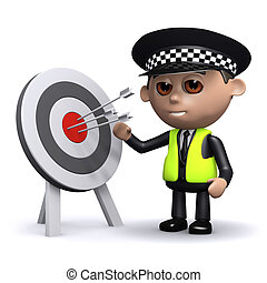 3d Police officer has hit the target - 3d render of a police...