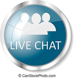 Blue web button - Live chat blue button or icon vector...