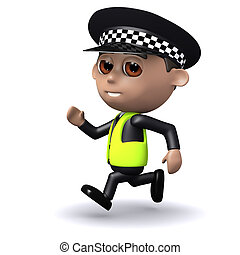 3d Police officer is chasing someone - 3d render of police...