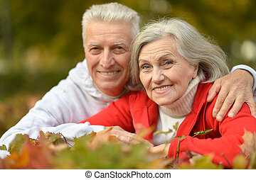 Happy senior couple - Portrait of happy senior couple in...