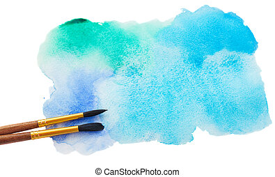 watercolor stroke with brush - watercolor stain with brushes...
