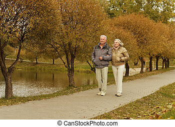 Mature couple walking - Happy mature couple walking in...