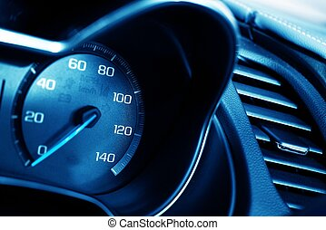 Blue Tachometer Closeup Car Dashboard Tachometer