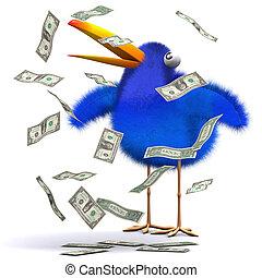 3d Blue bird hits the jackpot - 3d render of a bluebird...