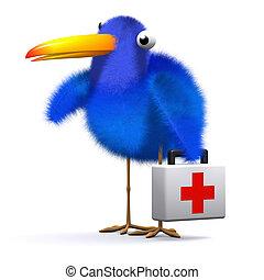 3d Blue bird brings first aid - 3d render of a blue bird...