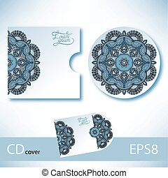 CD cover design template with ukrainian ethnic style...