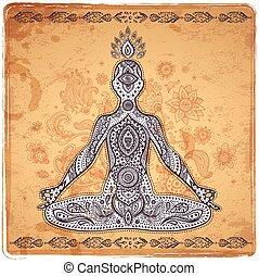 Vintage vector illustration with a meditation pose - Set of...
