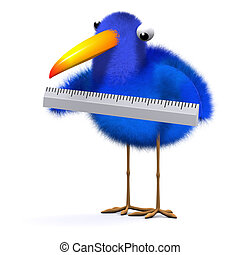 3d Blue bird uses a ruler