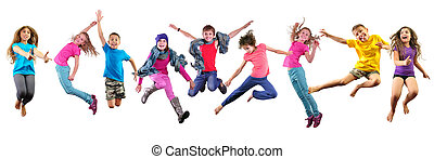 happy children exercising and jumping over white - Large...