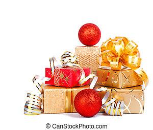 bonito, caixa, PRESENTE, Ouro, embrulhando, isolado, papel, branca,  ba