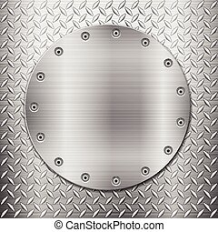 diamond metal background and circle plate - Pattern of metal...