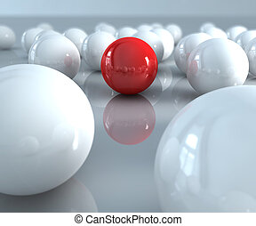 Red ball - A red ball in many white balls