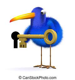3d Blue bird unlocks the door - 3d render of a blue bird...
