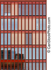 Modern Red Facade - Facade detail on a modern rust red...