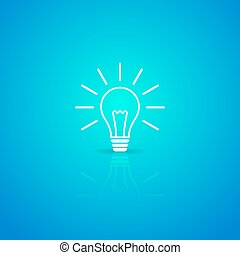 Light bulb icon - Light bulb white vector icon on blue...