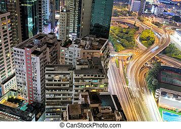 HONG KONG - APRIl 15, 2014: Hong Kong night skyline at...
