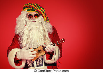 rasta santa - Portrait of a casual Santa Claus hippie over...