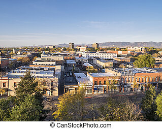 Fort Collins downtown - aerial view of Fort Collins downtown...