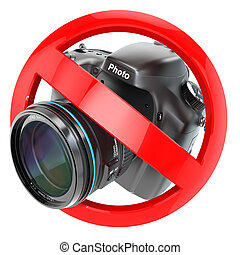No photography sign.  Photo camera prohibition. 3d