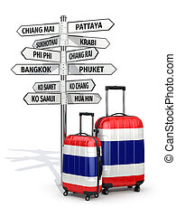 Travel concept Suitcases and signpost what to visit in...