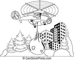 Santa Claus flying - Happy Santa Claus flying in helicopter...