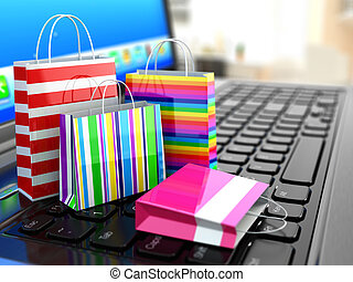 E-commerce Online internet shopping Laptop and shopping bags...