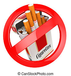 No smoking sign on white isolated background 3d