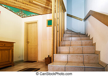 Wooden staircase in renovated house, countryside, France
