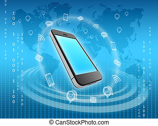 mobile phone icons surrounded by information messages -...